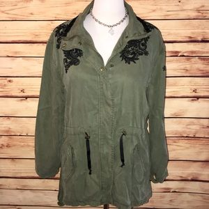 Max Jeans Olive/Black Embroidered Utility Coat